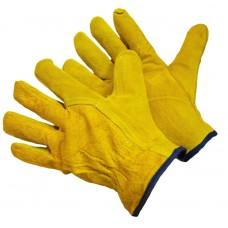 Перчатки из цельного спилка желтые