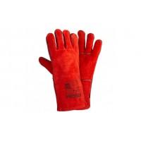 Перчатки из цельного спилка START красные