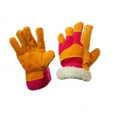 Перчатки спилковые комбинированные, утепленные